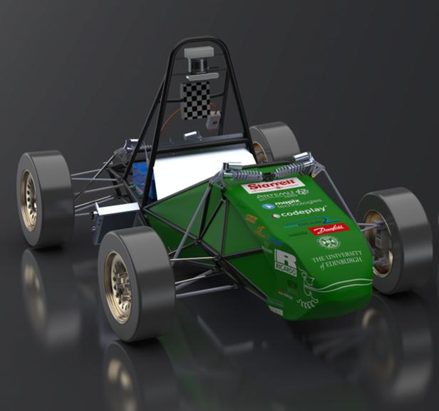 EUFS F1-style race car, green