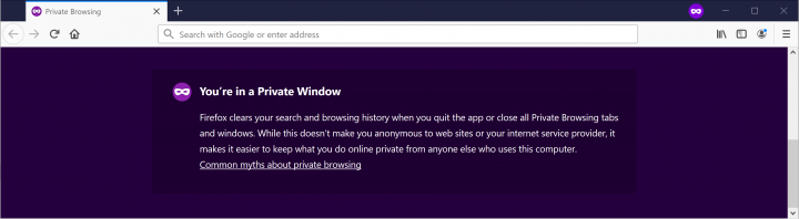 Private Browsing Window in Firefox
