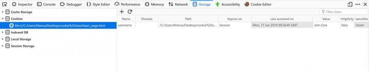 Firefox Storage Inspector