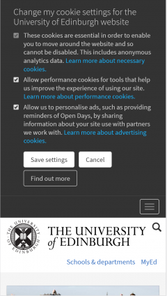 Cookie Dialogue on ed.ac.uk